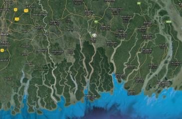 La forêt de Mangrove des Sundarbans dans le delta du Gange au Bangladesh.