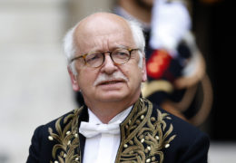 Academie Francaise (French Academy) member Erik Orsenna attends a ceremony at the institution in Paris