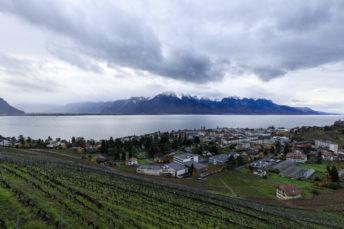 Suisse, Canton du Vaud, Montreux, quartier du Chatelard, le Chateau du Chatelard, le lac Leman en arriere plan