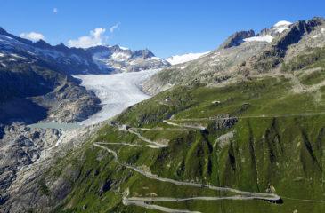 Suisse, Canton du Valais, Col de la Furka, Glacier du Rhone, Les Sources du Rhone, Hotel Belvedere